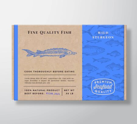 Fish Pattern Realistic Cardboard Container. Abstract Vector Seafood Packaging Design or Label. Modern Typography, Hand Drawn Sturgeon Silhouette. Craft Paper Box Pattern Background Layout.
