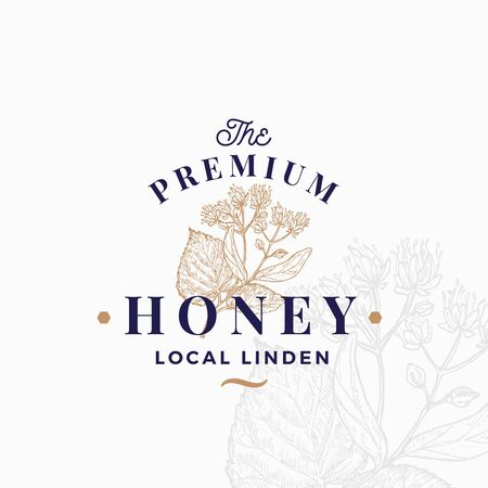 Premium Quality Honey Sign, Symbol or Template. Hand Drawn Linden Flowers Branch Sketch with Retro Typography. Local Apiary Vintage Emblem with Background.