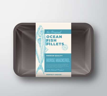 The Original Fish Fillets Abstract Vector Packaging Design Label on Plastic Tray with Cellophane Cover. Modern Typography and Hand Drawn Horse Mackerel Silhouette Background Layout. Illustration