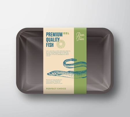 Premium Quality Fish . Abstract Vector Plastic Tray with Cellophane Cover Packaging Design Label. Modern Typography and Hand Drawn Eel Silhouette Background Layout.