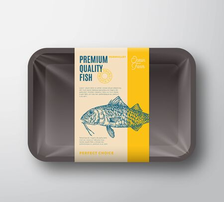 Premium Quality Surmullet. Abstract Vector Plastic Tray with Cellophane Cover Packaging Design Label. Modern Typography and Hand Drawn Fish Silhouette Background Layout.