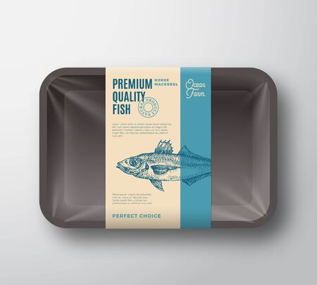 Premium Quality Horse Mackerel. Abstract Vector Plastic Tray with Cellophane Cover Packaging Design Label. Modern Typography and Hand Drawn Fish Silhouette Background Layout.