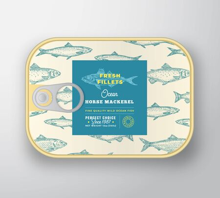 Canned Fish Label Template. Abstract Vector Aluminium Container with Label Cover. Packaging Design. Modern Typography and Hand Drawn Horse Mackerel Silhouette Background Layout. Illustration