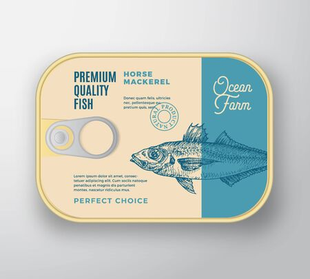 Abstract Vector Fish Aluminium Container with Label Cover. Retro Premium Canned Packaging Design. Modern Typography and Hand Drawn Horse Mackerel Silhouette Background Layout.