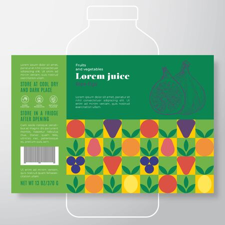 Fruit and Vegetables Pattern Juice Label Template. Abstract Vector Packaging Design Layout. Modern Typography Banner with Hand Drawn Fig with a Slice Silhouette Background.