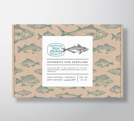 Fish Pattern Realistic Cardboard Box with Banner. Abstract Vector Packaging Design or Label. Modern Typography, Hand Drawn Horse Mackerel Silhouette. Craft Paper Background Layout.