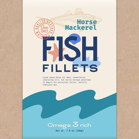 Fish Fillets. Abstract Vector Fish Packaging Design or Label. Modern Typography, Hand Drawn Horse Mackerel Silhouette and Colorful Elements. Craft Paper Background Layout