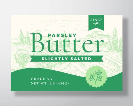Parsley Salted Butter Dairy Label Template. Abstract Vector Packaging Design Layout. Modern Typography Banner with Hand Drawn Green Herb and Rural Landscape Background. Ilustração
