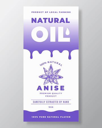 Natural Oil Abstract Vector Packaging Design or Label Template. Modern Typography, Gradient Drips and Hand Drawn Anise Space Sketch Silhouette Background Layout. Çizim