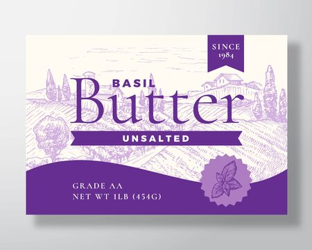 Basil Butter Dairy Label Template. Abstract Vector Packaging Design Layout. Modern Typography Banner with Hand Drawn Violet Herb and Rural Landscape Background.