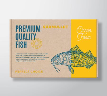 Premium Quality Fish Realistic Cardboard Box. Abstract Vector Packaging Design or Label. Modern Typography, Hand Drawn Surmullet Silhouette. Craft Paper Background Layout.