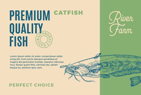 Premium Quality Catfish. Abstract Vector Food Packaging Design or Label. Modern Typography and Hand Drawn Fish Sketch Silhouette Background Layout