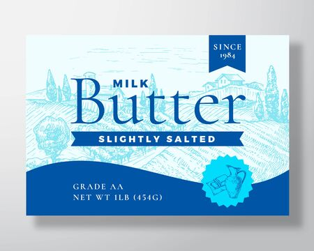 Slightly Salted Milk Butter Dairy Label Template. Abstract Vector Packaging Design Layout. Modern Typography Banner with Hand Drawn Pot and Rural Landscape Background.
