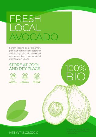 Fresh Local Fruits Label Template. Abstract Vector Packaging Design Layout. Modern Typography Banner with Hand Drawn Avocado with a Half Sketch Silhouette Background. Isolated.