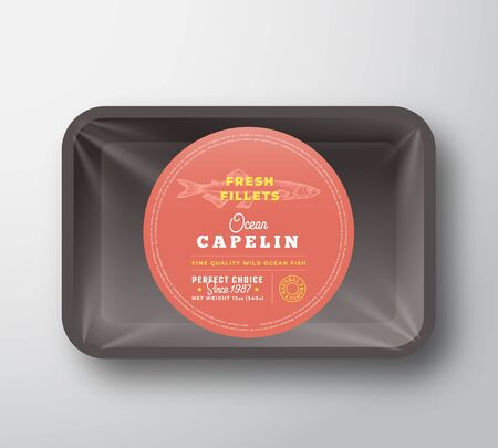Ocean Capelin Fillets. Abstract Vector Plastic Tray with Cellophane Cover Packaging Design Round Label or Sticker. Retro Typography and Hand Drawn Fish Silhouette Background Layout. 向量圖像