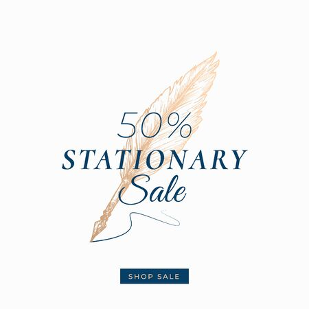 Fifty Percent Stationary Autumn Sale. Abstract Vector Label, Sign or Card Template. Hand Drawn Golden Writing Feather Pen Sketch Illustration with Modern Typography and Shop Sale Button.
