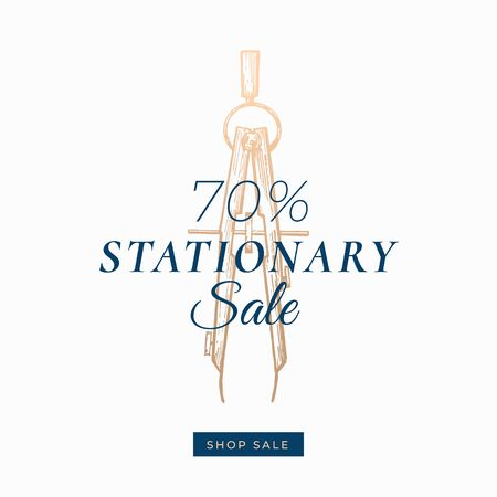 Seventy Percent Stationary Autumn Sale. Abstract Vector Label, Sign or Card Template. Hand Drawn Golden Compass Sketch Illustration with Modern Typography and Shop Sale Button. Stock Illustratie