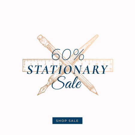 Sixty Percent Stationary Autumn Sale. Abstract Vector Label, Sign or Card Template. Hand Drawn Golden Pen, Pencil and Ruler Sketch Illustration with Modern Typography and Shop Sale Button.