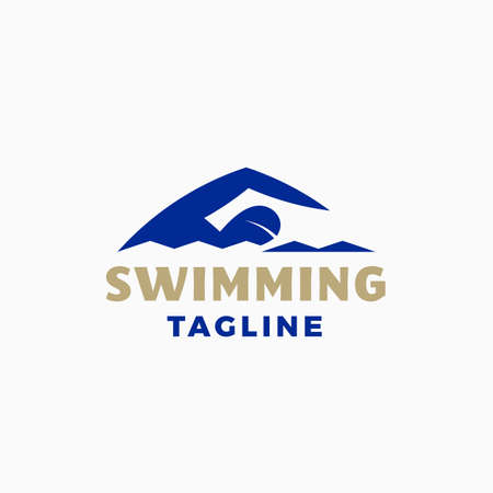 Swimming Abstract Modern Vector Sign, Emblem, Icon or Logo Template. Sportsman Swimmer Person in a Water with Typography. Çizim