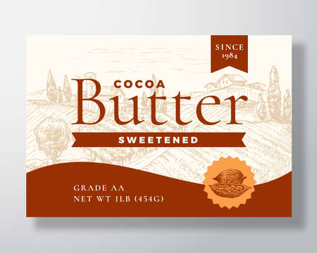 Sweetened Cocoa Butter Dairy Label Template. Abstract Vector Packaging Design Layout. Modern Typography Banner with Hand Drawn Beans and Rural Landscape Background. Çizim