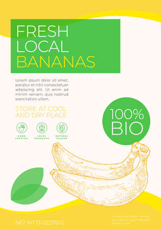 Fresh Local Fruits Label Template. Abstract Vector Packaging Design Layout. Modern Typography Banner with Hand Drawn Bananas Sketch Silhouette Background.