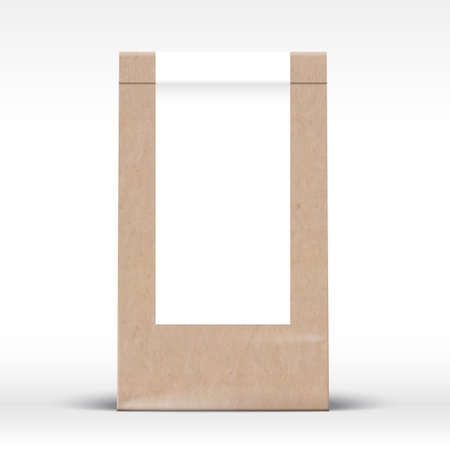 Craft Paper Bag with Clear White Label Template. Realistic Carton Texture Packaging Mock Up with Soft Shadow. Isolated.