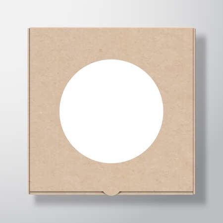 Craft Cardboard Pizza Box Container with Clear White Round Label Template. Realistic Carton Texture Paper Packaging Mock Up with Soft Shadow. Isolated.