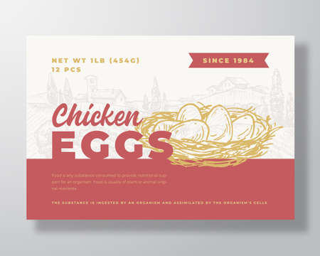 Chicken Eggs Food Label Template. Abstract Vector Packaging Design Layout. Modern Typography Banner with Hand Drawn Nest and Rural Landscape Background. Ilustração