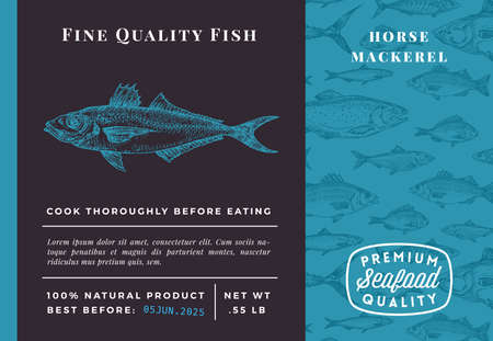 Premium Quality Horse Mackerel Abstract Vector Packaging Design or Label. Modern Typography and Hand Drawn Sketch Fish Pattern Background Seafood Layout Illustration