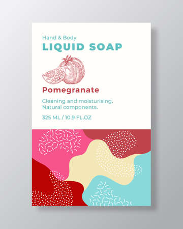 Liquid Soap Package Label Template. Abstract Shapes Camo Background Vector Cover. Cosmetics Packaging Design. Modern Typography and Hand Drawn Pomegranate with a Half Sketch.