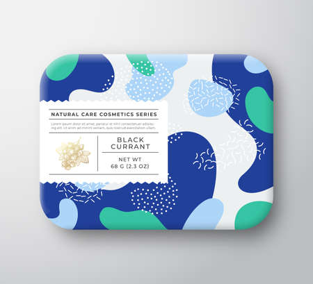 Fruits Bath Cosmetics Box. Vector Wrapped Paper Container with Care Label Cover. Packaging Design. Modern Typography and Hand Drawn Black Currant Berries. Abstract Camo Background Pattern Layout.