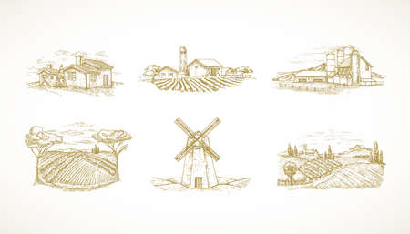 Hand Drawn Landscapes Vector Illustrations Collection Set. Farms, Windmill, Cabins, Barns and other Rural Buildings Sketches Set. Fields and Houses Doodles Bundle.