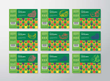 Pattern Juice Label Templates Collection. Abstract Vector Packaging Design Layouts Set. Modern Typography Banners with Hand Drawn Fruits, Berries and Vegetables Background.