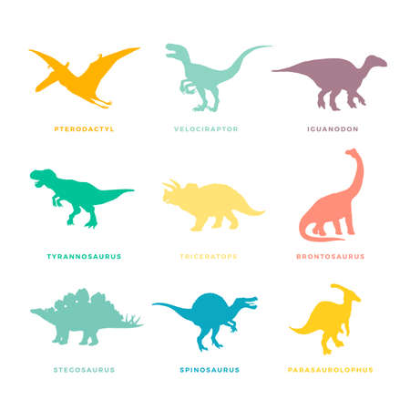 Prehistoric Dinosaurs Signs, Symbols or Illustrations Set. Colorful Vector Ancient Reptiles Silhouttes Collections.