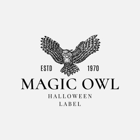 Halloween Logo or Label Template. Hand Drawn Evil Flying Owl Bird Sketch Symbol and Retro Typography.