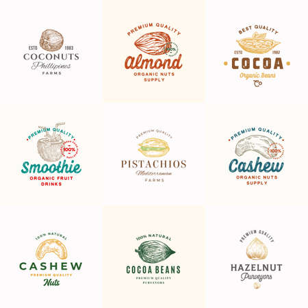 Premium Quality Nuts, Cocoa and Coconuts Vector Signs or Logo Templates Collection. Hand Drawn Almond, Cashew, Pistachio, Hazelnut and Beans Sketches with Typography. Food Emblems Bundle.