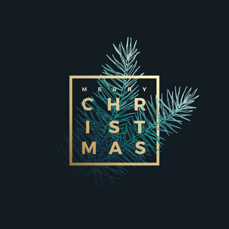 Merry Christmas Abstract Vector Classy Label, Sign or Card Template. Hand Drawn Fir-Needle Spruce Branch Illustration with Golden Framed Typography. Premium Holiday Greetings Background