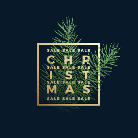 Christmas Sale Abstract Vector Label, Sign or Card Template. Hand Drawn Fir-Needle Spruce Branch Illustration with Golden Framed Typography. Holiday Promo or Advertising Background