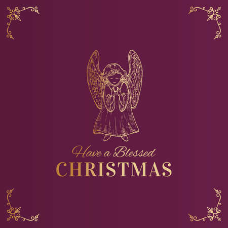 Merry Christmas Abstract Vector Classy Label, Sign or Card Template. Hand Drawn Golden Praying Angel Sketch Illustration with Typography. Premium Purple Background
