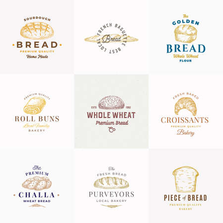 Premium Quality Bakery Vector Signs or Templates Collection. Hand Drawn Bread Loafs, Challa, Baguette and croissant Sketches with Typography. Food Emblems Bundle. Vetores
