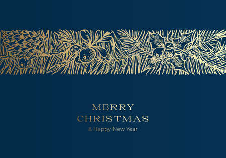 Christmas Greetings Vector Banner Template. Winter Holiday Symbol Doodle Pine Branches Decorative Stripe or Band Sketch on Blue Background. New Year Label or Card Design with Golden Glitter  イラスト・ベクター素材