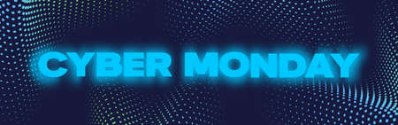 Cyber Monday Neon Banner, Poster or Flayer Template. Creative Halftone Pattern Background Concept. Abstract Sale Promotion or Advertising Layout