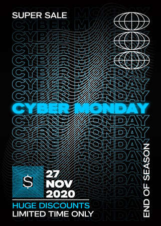 Neon Cyber Monday Typography Banner, Poster or Flayer Template. Creative Wave Grid Background Concept. Abstract Decorative Elements in a Frame. Sale Promotion or Advertising Layout