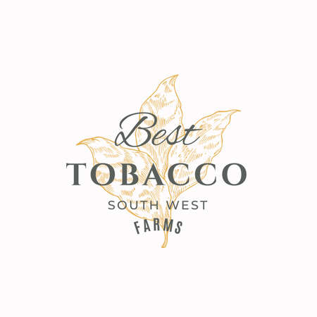 Tobacco Leaf Abstract Vector Sign, Symbol or Logo Template. Herb Branch Sillhouette with Retro Typography. Vintage Luxury Emblem.
