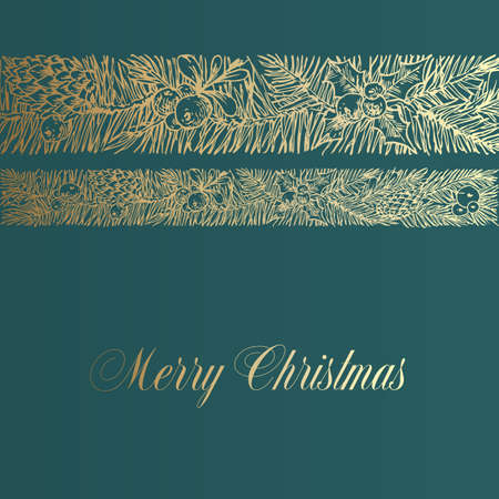 Christmas Greetings Vector Banner Template. Winter Holiday Symbol Doodle Pine Branches Decorative Stripe or Band Sketch on Green Background. New Year Label or Card Design with Golden Glitter