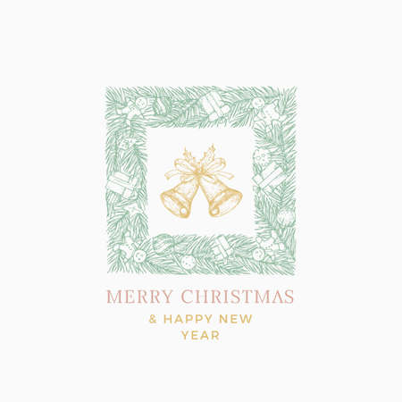 Christmas Sketch Pine Wreath, Sign,  Banner or Card Template with Hand Drawn Bells. Abstract Greetings Vector Illustration with Typography. Winter Holiday Illustration.  イラスト・ベクター素材