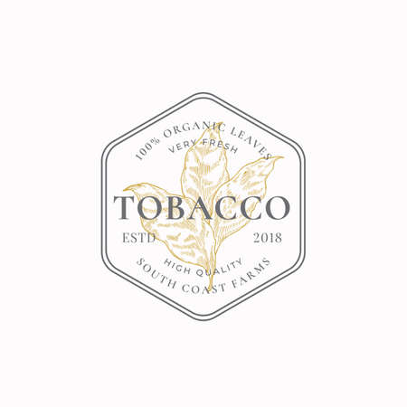 Tobacco Leaf Abstract Vector Sign, Symbol  Template. Herb Branch Silhouette in a Frame Badge with Retro Typography. Vintage Luxury Emblem.