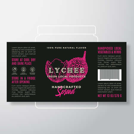 Handcrafted Fruit Spread or Jam Label Template. Abstract Vector Packaging Design Layout. Modern Typography Banner with Hand Drawn Lychee Silhouette Background.