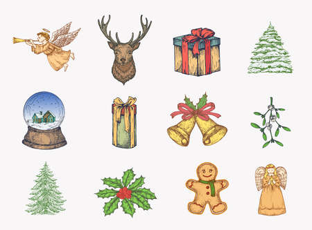 Hand Drawn Colorful Christmas Icons Bundle. A Collection of Winter Holidays New Year Sketches. Engraving Style Xmas Doodle Drawings Set of Angels, Deer, Gift Boxes, Snowball and Pines.