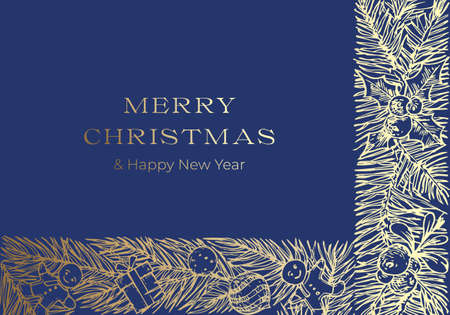 Christmas Greetings Vector Banner Template. Winter Holiday Doodle Pine Branches Decorative Stripes Sketches on Blue Background. New Year Label or Card Design with Golden Glitter 矢量图像